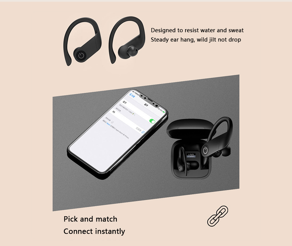 Gocomma B5 TWS Bluetooth 5.0 Ear Hook Earphone Stereo HiFi Sport Earbuds LED Display Charging Case- Black