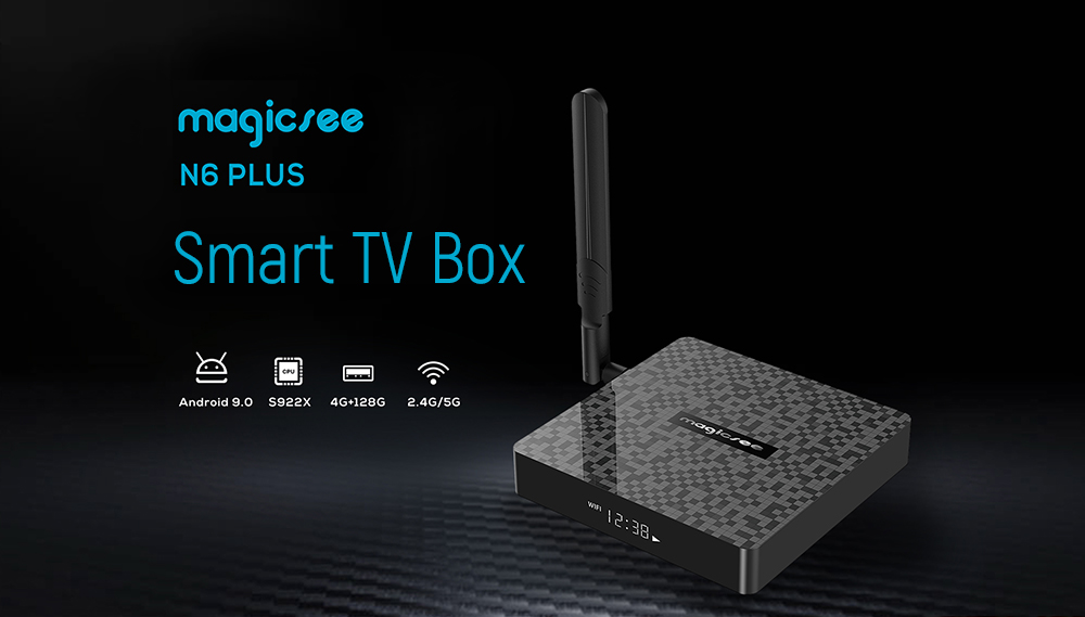Magicsee N6 Plus Android 9.0 Smart TV Box with Amlogic S922X Arm Mali TM-G52 MP6 2.4GHz + 5GHz Dual-Band WiFi 1000Mbps H.264 H.265 Support 4K 60fps- Black 4GB DDR4 + 32GB ROM US Plug