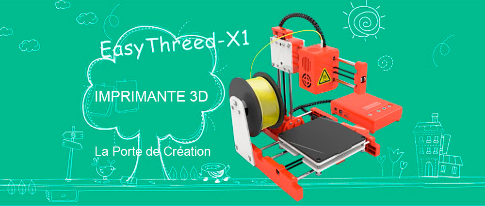 Easythreed X1 Mini Imprimante 3D Portable- Orange Mangue PRISE EU