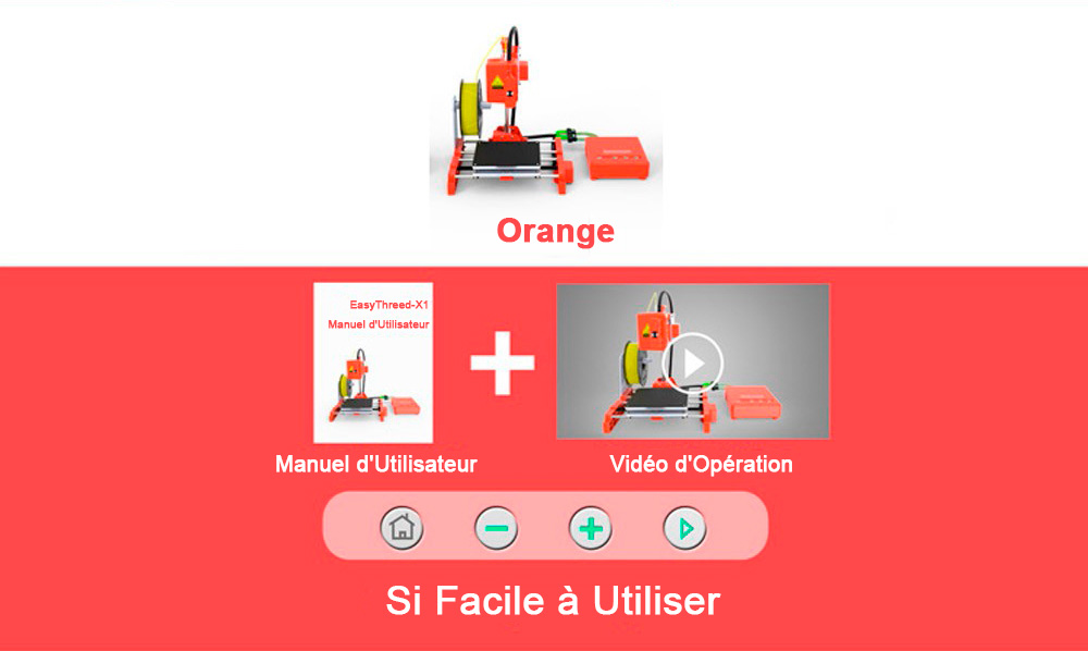 Easythreed X1 Mini FDM 3D Printer - Mango Orange EU Plug