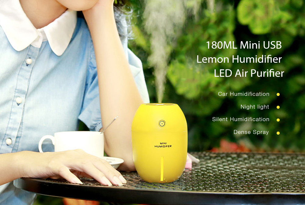 180ML Mini USB Lemon Umidificatore di Ricarica USB LED Purificatore d'Aria Silenzioso- Verde Alga