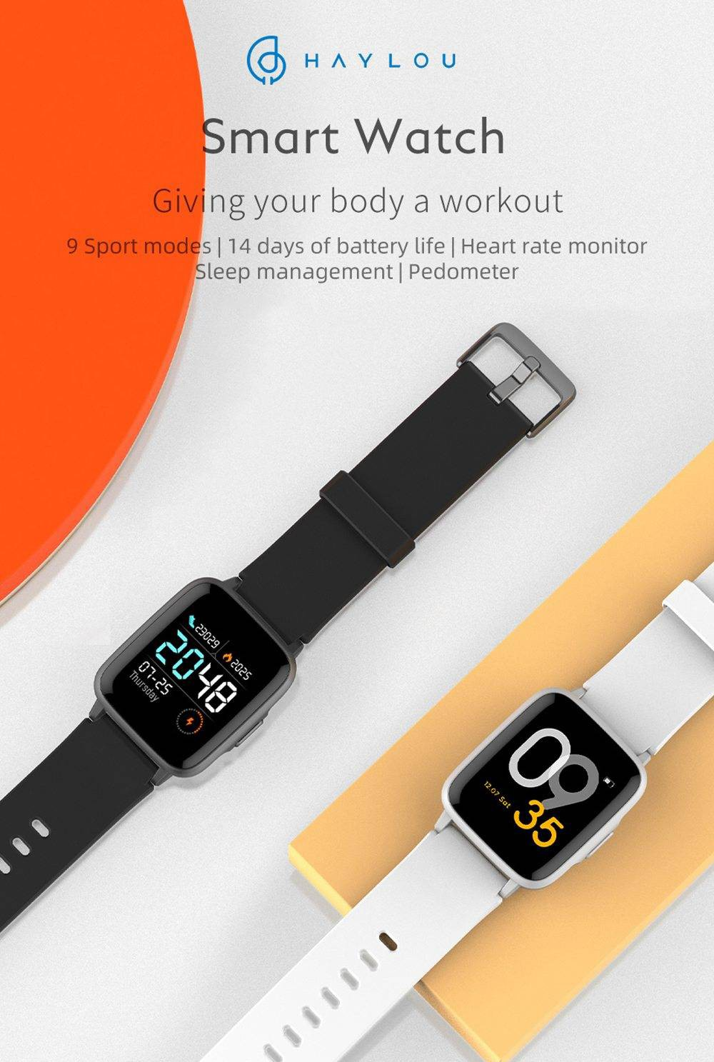 Haylou LS01 24H Heart Rate Monitor BT4.2 Smart Watch - Black