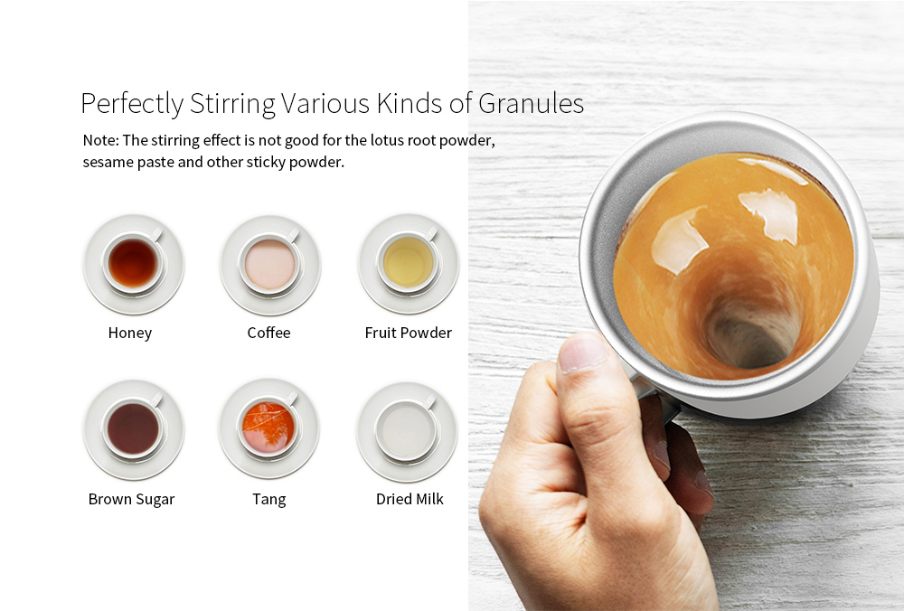 Magic Cup Hot Water Semiconductor Power Generation Magnetic Coffee Mixing Cup Automatic Belly Magnetic Stirring Drinkware- Milk White Ceramic Cup