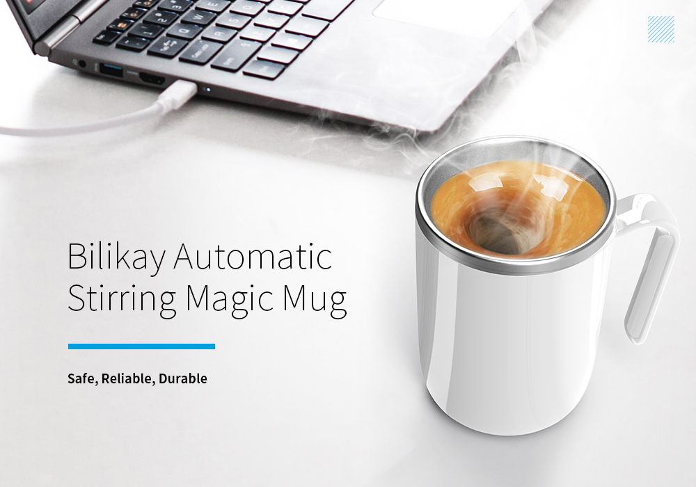 Magic Cup Hot Water Semiconductor Power Generation Magnetic Coffee Mixing Cup Automatic Belly Magnetic Stirring Drinkware- Orange Gold BPA free cup