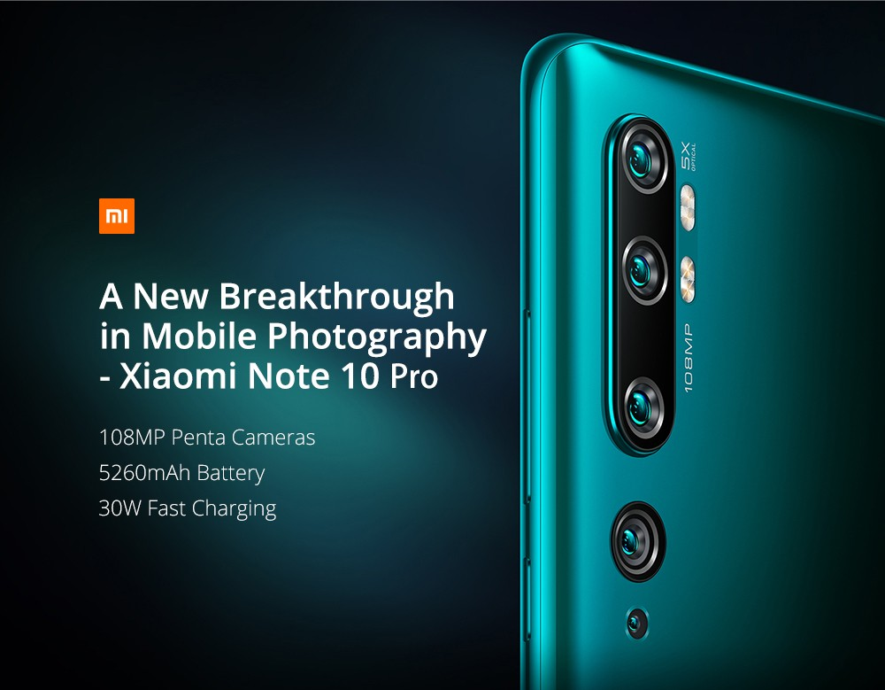 Xiaomi Mi Note 10 Pro 108MP Penta Camera Phone 6.47 inch 4G Smartphone Global Version With 8GB RAM 256GB ROM 5260mAh Battery Fast Charging- Black