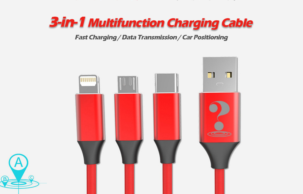 3-in-1 Car Positioning Charging Cable Data Transmission Wire- Red