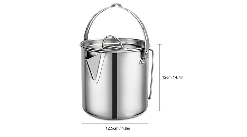 Outdoor Stainless Steel Teapot Kettle 1.2L Mountaineering Camping Cookware Hanging Portable Picnic Coffee Pot- Silver