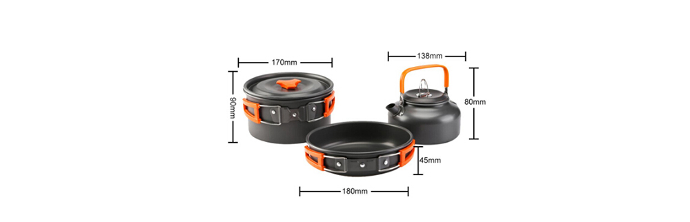D8-308 Cookware Teapot Package 2-3 People Camping Set- Orange