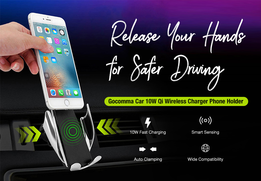 Gocomma Universal 10W Infrared Sensing Qi Wireless Fast Charging Car Charger Phone Holder- Black