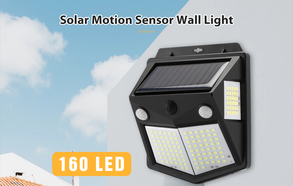 Utorch 160 LED Solar Powered Wall Light- Black