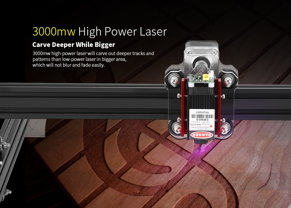 Alfawise C30 Pro 3000mw Simple Frame Laser Engraving Machine- Black