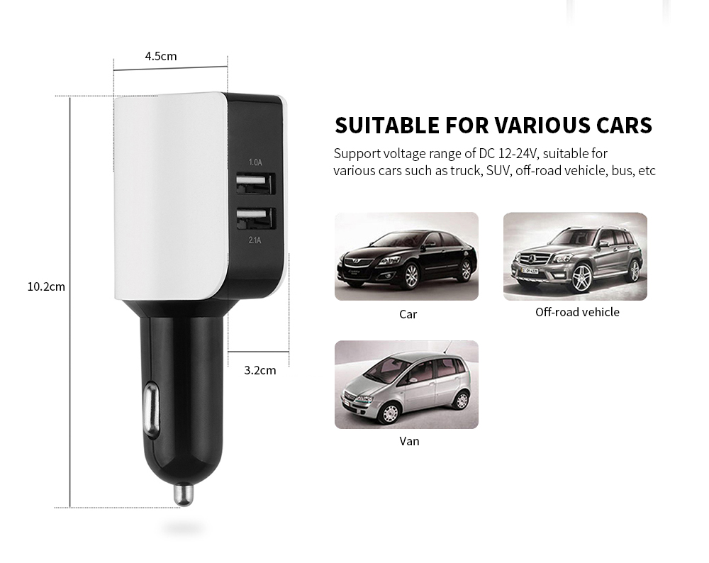 Dual USB Port Quick Car Charger Adapter- White
