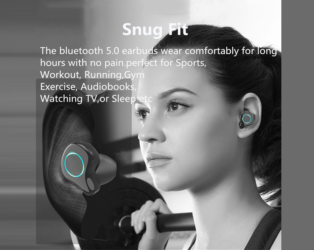 Gocomma R6 TWS Bluetooth Headset V5.0 Wireless Stereo Headset Sports Earbuds With Microphone, With 2600mAh Mobile Power LED Display- Black
