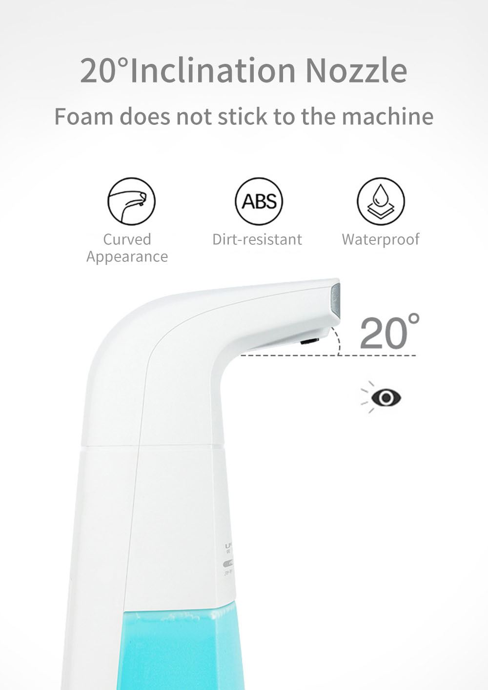 Automatic Induction Foam Soap Dispensers Intelligent Non-contact Infrared Sensors Foam 310ml- White