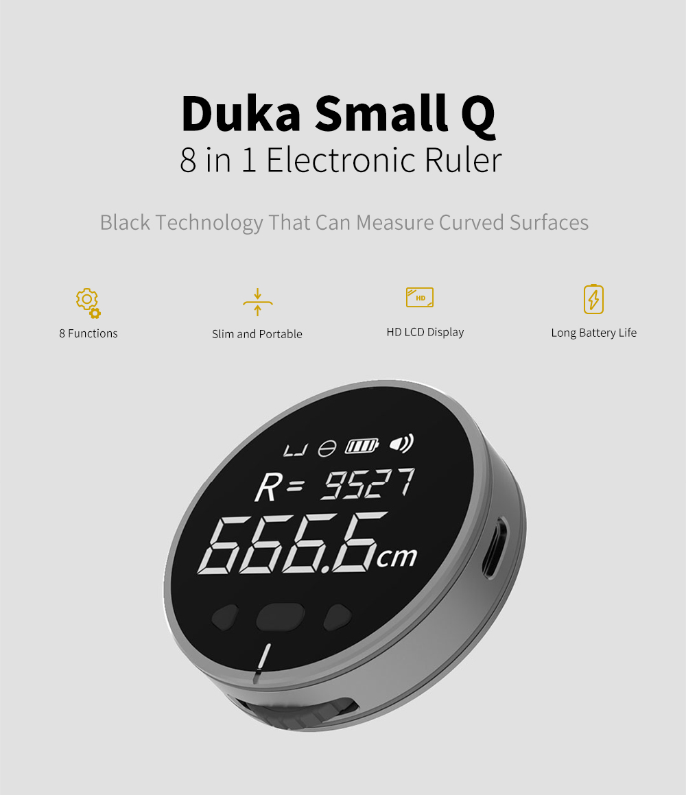 DUKA Small Q 8 Large Utility Power Measuring Linear / Circular Measurement / Measuring Any Curve / Surface Irregularities Measuring / Cylinder Diameter Measurement / Accumulation Accumulated / Tone Measurement / Switching Unit Meta-definition Liquid Crystal Display Standby Electronic Scale- Black