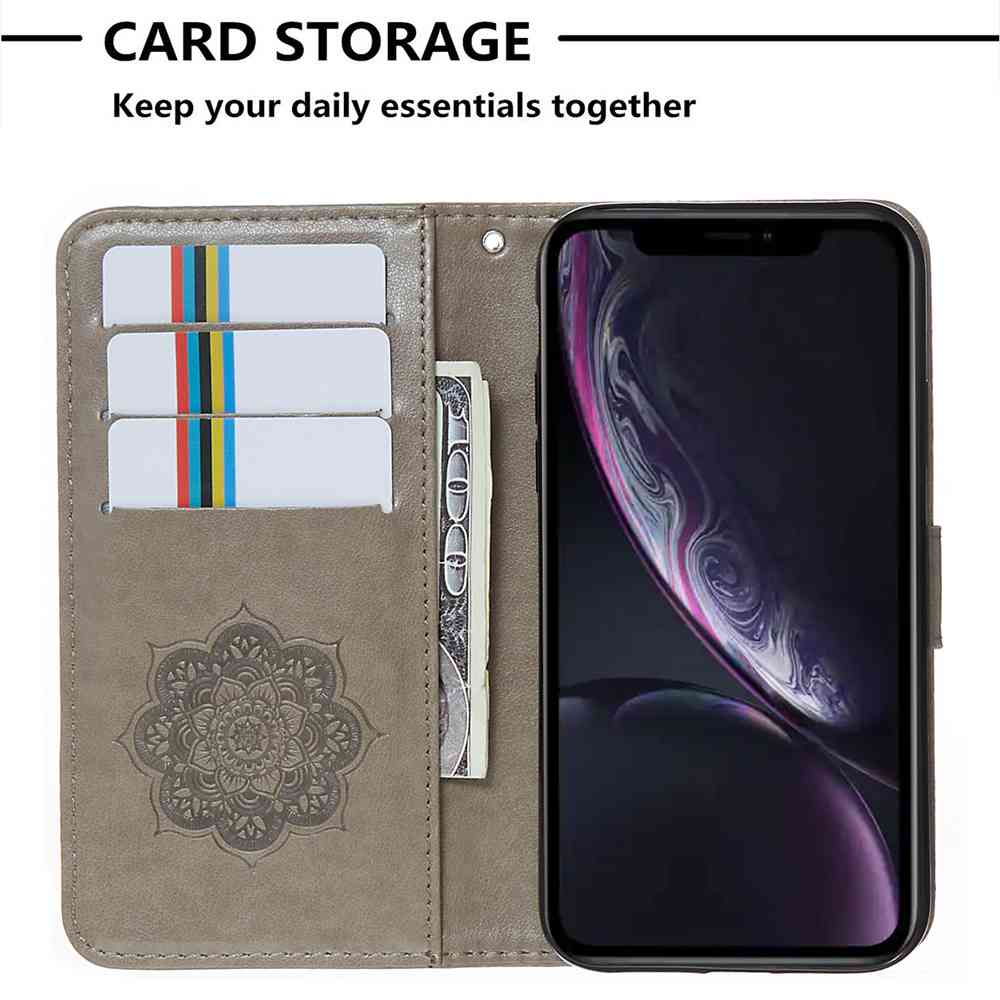 Sogno Phone Case Catcher goffratura PU per Iphone Xr- Grigio