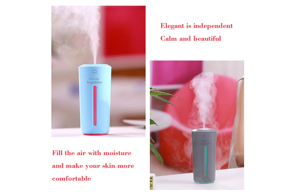 Nice Mini 230ML Cup-Shaped USB Air Humidifier 7-COLOR Lamp Essential Oil Diffuser- Sky Blue