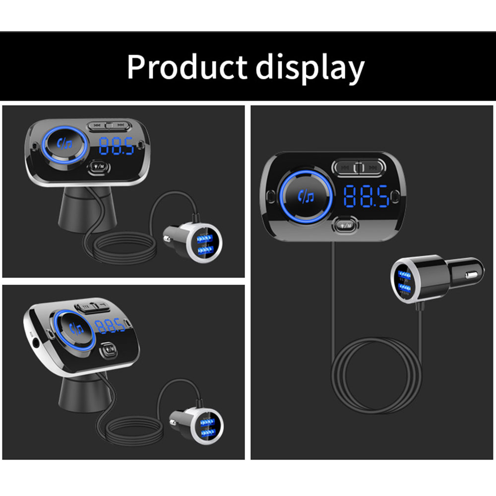 Tecney Car MP3 Player Bluetooth Hands-free Car Kit FM Transmitter AUX Modulator Dual USB QC3.0 Fast Charger Colorful Atmosphere Light- Black