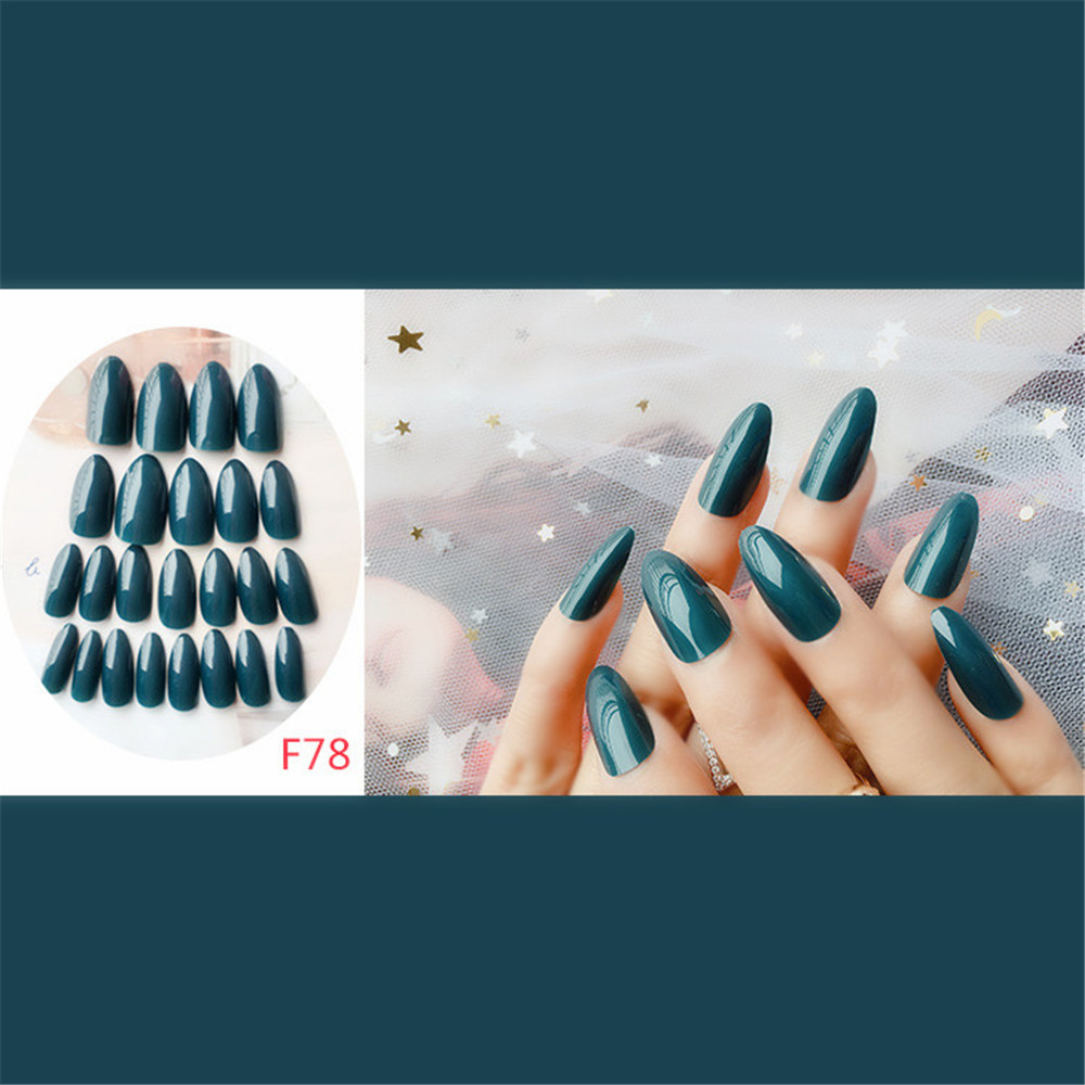 24 Pieces of Long Pointed Nails in Paper Box- Medium Sea Green