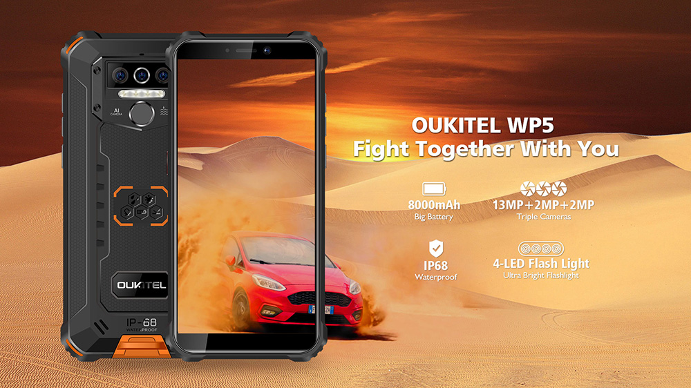 OUKITEL WP5 4G Smartphone 8000mAh Battery 5.5 inch 3 Rear Camera Android 9.0 4GB RAM 32GB ROM IP68 & IP69 Waterproof Global Version- Black