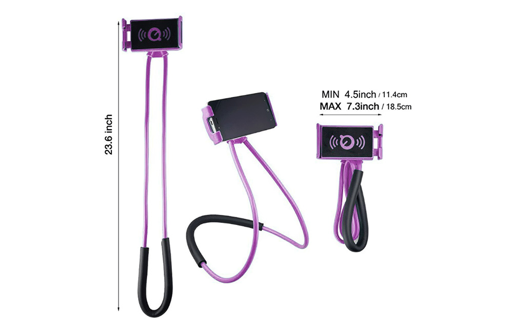 Colorful Flexible Neck Lazy Holder Bracket Phone Stand Mount For IPhone X 8 Samsung S8 Xiaomi 6 5- Purple Amethyst