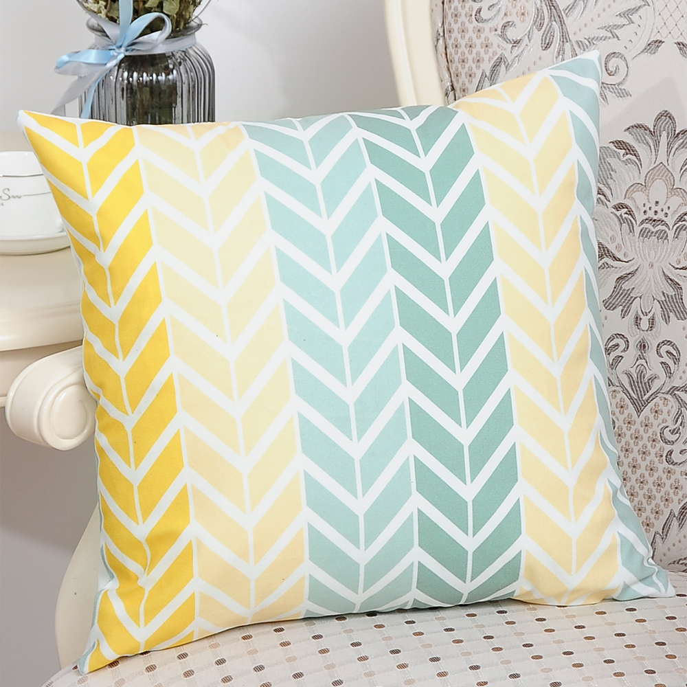 Printed Polyester Washed Pillowcase  45X45- Yellow