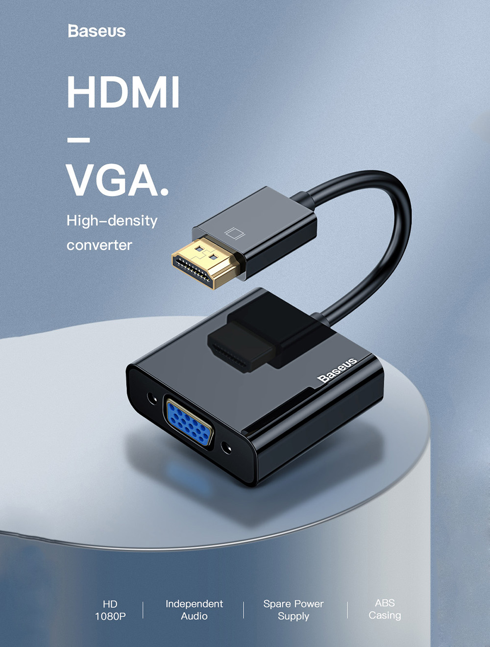 Baseus HDMI To VGA Cable HDMI VGA Adapter For Laptop PS4 TV- Black