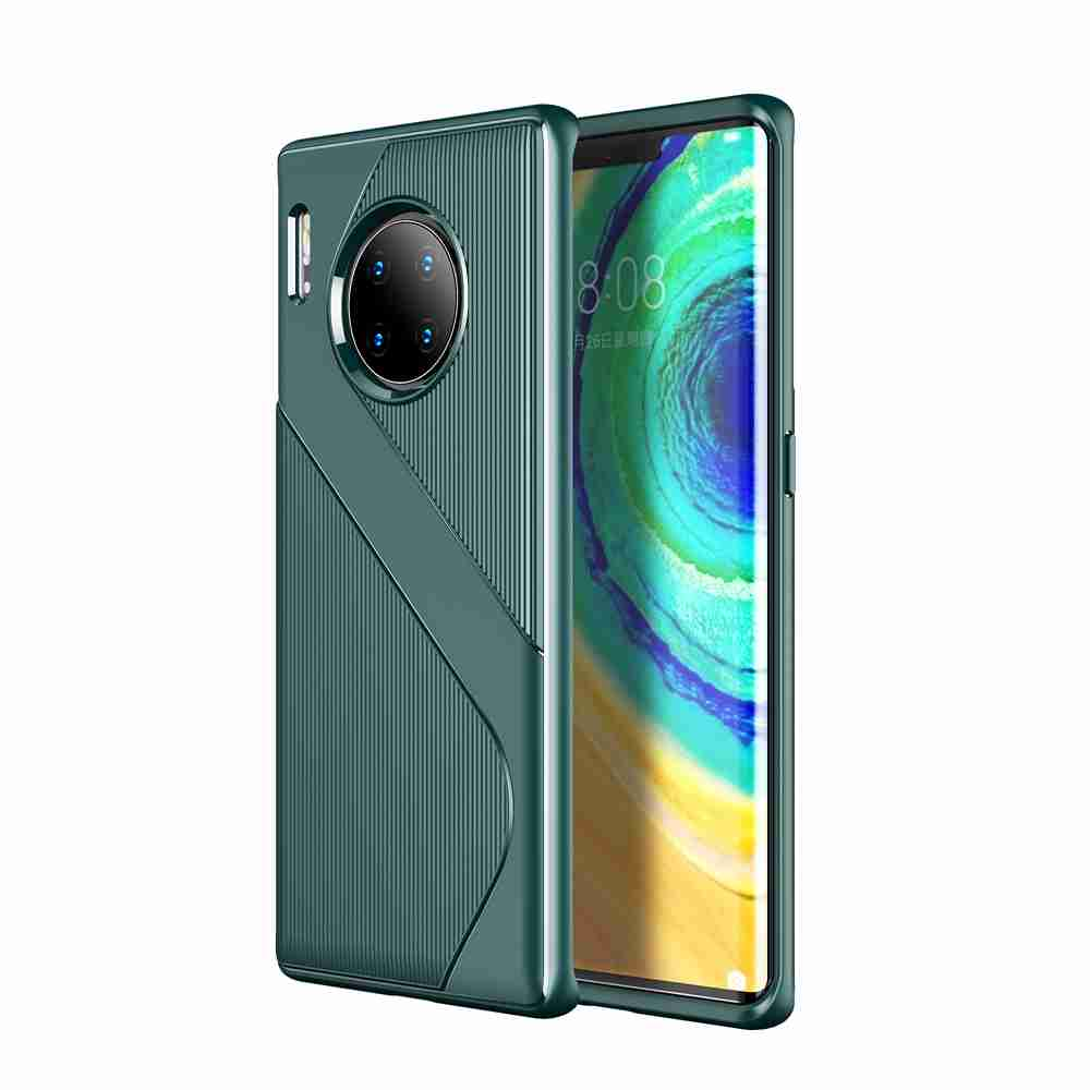 S Shape Pattern Carbon Fiber Phone Case for Huawei Mate 30 Pro- Cadetblue