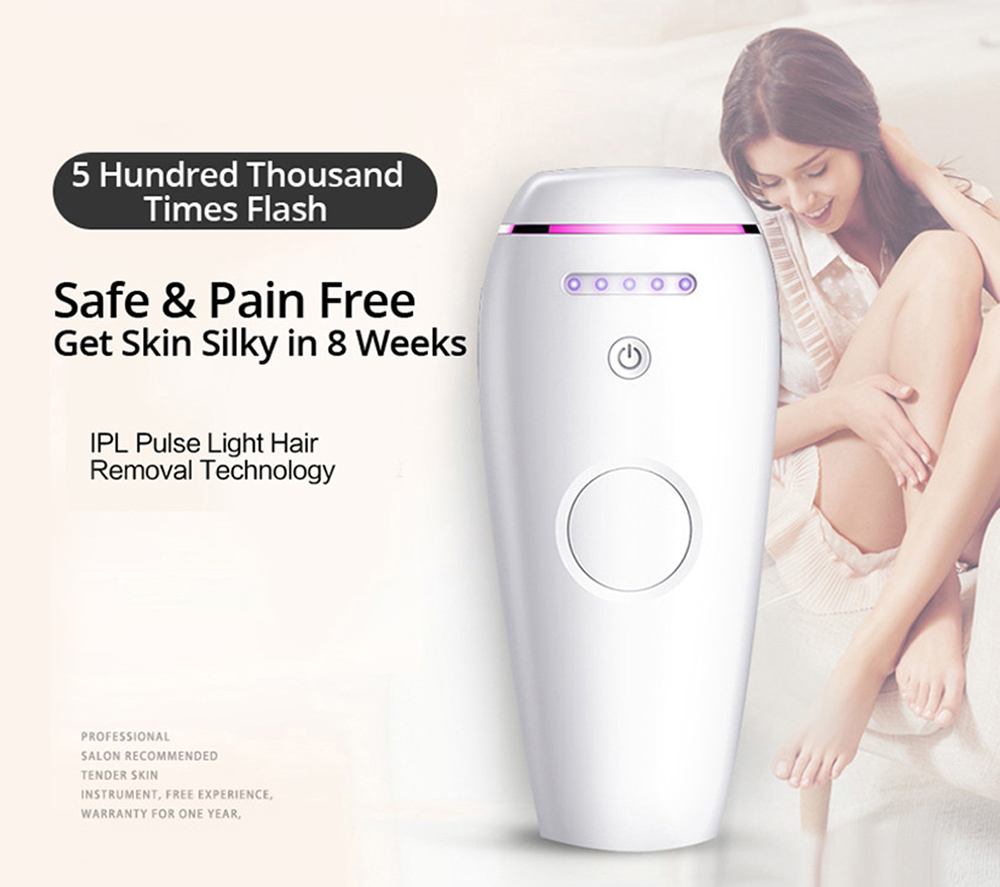 Durable Nice Mini New Home Laser Hair Removal Instrument 5 Level Adjustment Dual Mode- Milk White