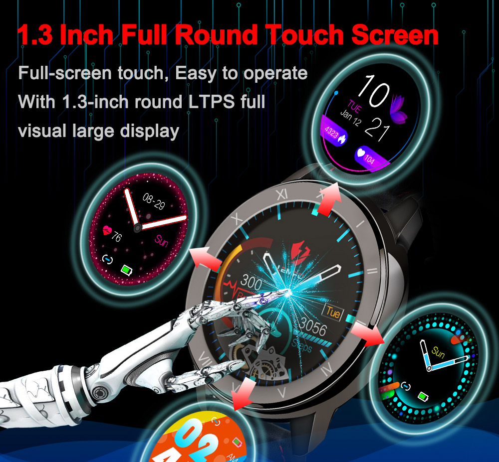 LEMFO ELF2 PPG + ECG Smart Watch Men Full Round Touch Screen 360 x 360 HD Resolution with Stainless Steel Case Replaceable Strap - Black