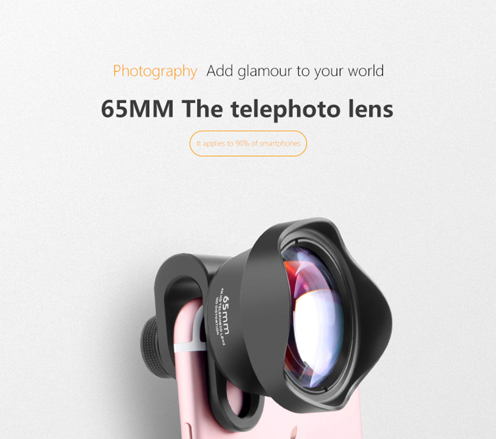 HD Distortion Free Mobile Phone Lens 65mm Telephoto Lens 4K Telephoto Lens with Optical Glass Lens Metal Aluminum Shell- Black