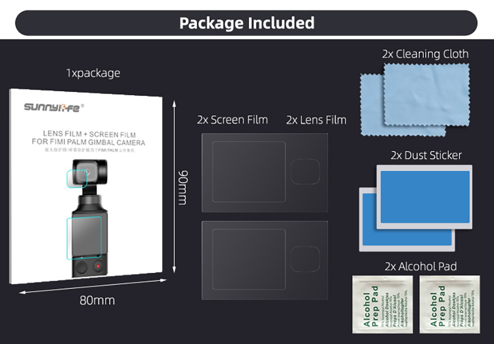 Sunnylife Handheld Camera Lens Protective Film + Screen Protective Film for FIMI PALM- Transparent
