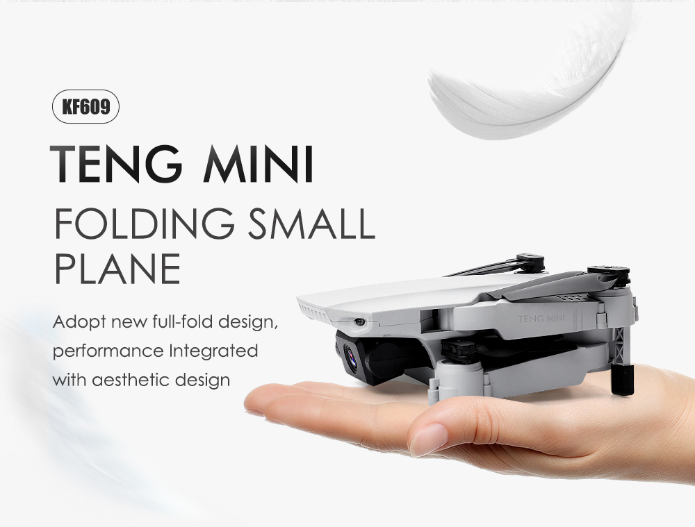 KF609 Folding Drone Dual Camera High-definition Gesture Shooting Aerial Photography Quadcopter RC Toy- White 4K Optical flow+Storage Bag