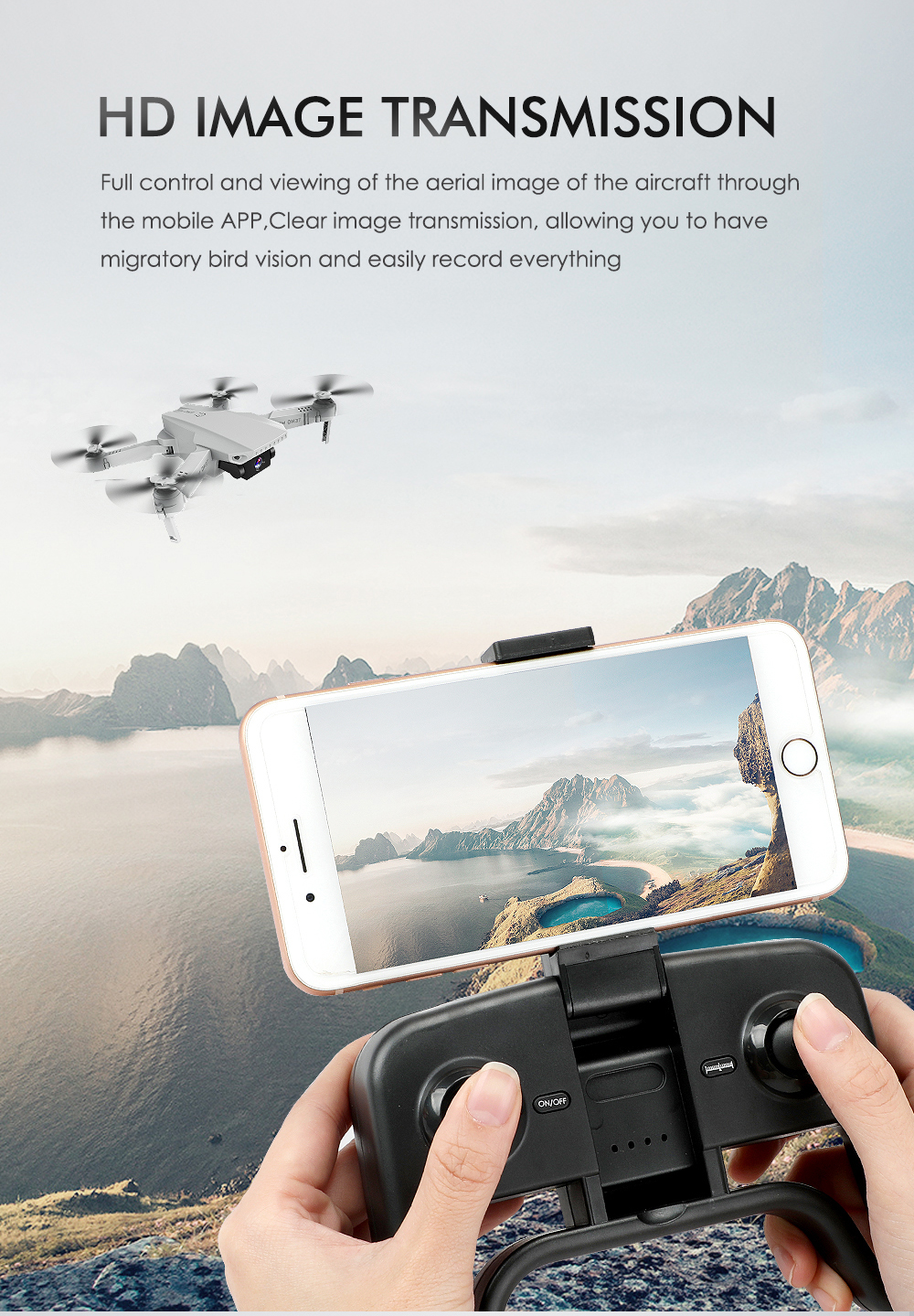 KF609 Folding Drone Dual Camera High-definition Gesture Shooting Aerial Photography Quadcopter RC Toy- White 720P+Storage Bag