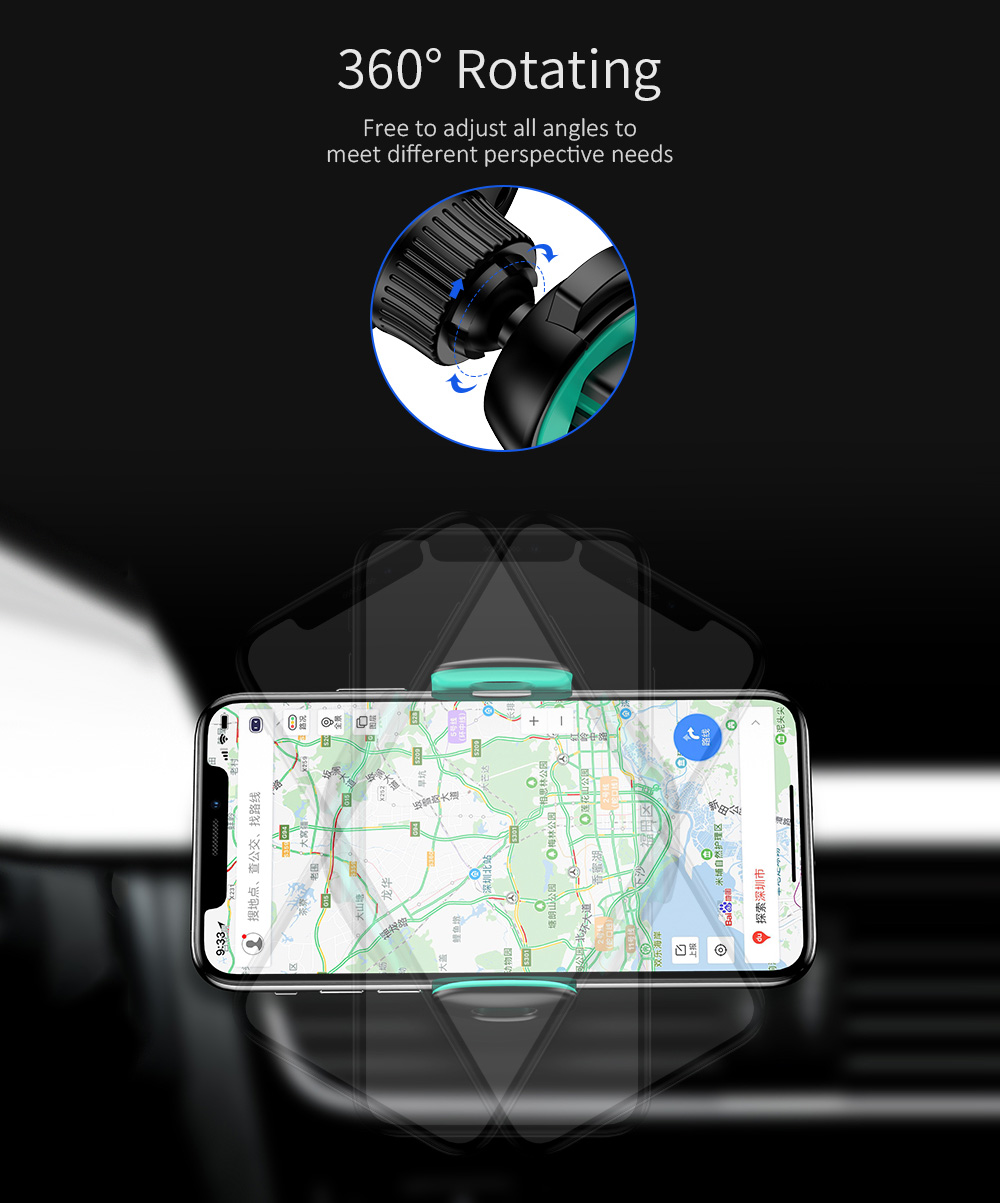 USAMS US-ZJ039 Air Vent Car Phone Holder 360 Degree Rotating Stand Mini Vehicle Bracket for 4.7 inch 5.5 inch 6.0 inch Mobile Phone - Green