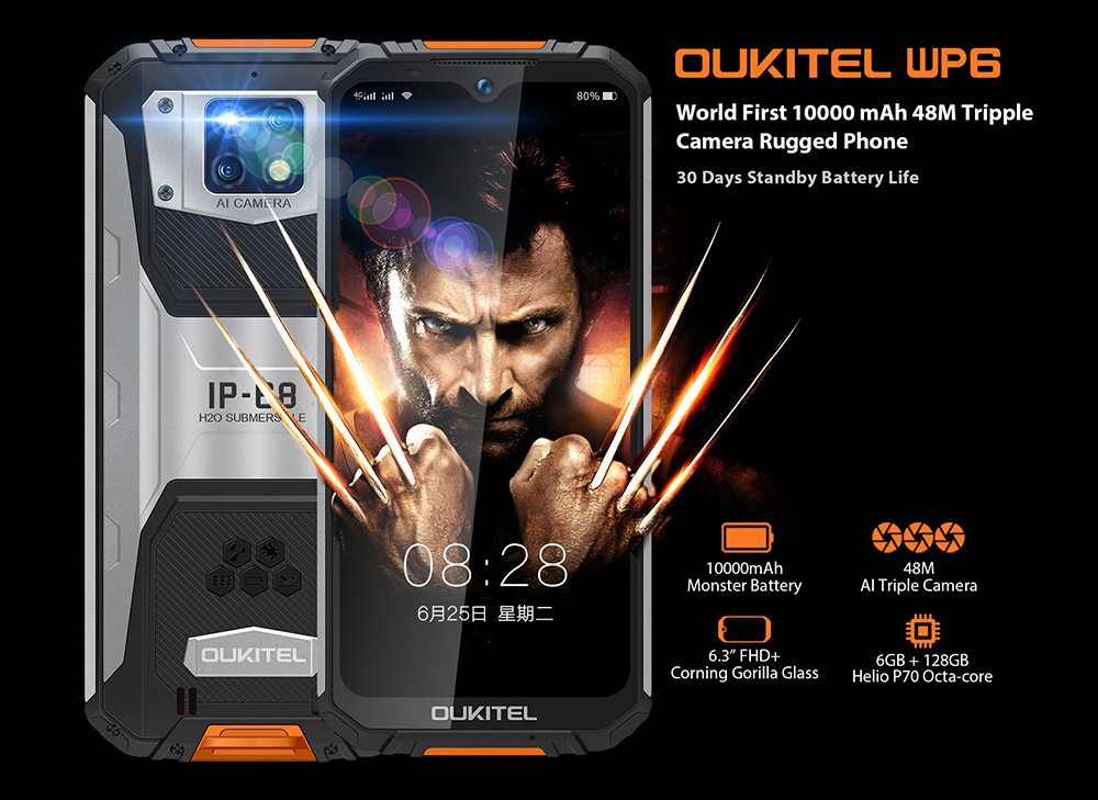 OUKITEL WP6 48MP+ 5MP+0.3MP Rear Camera  16MP Front Camera Phone 6.3 inch 4G Smartphone Original Global Version with Android 9.0 6GB RAM 128GB ROM IP68 Waterproof - Orange High Edition
