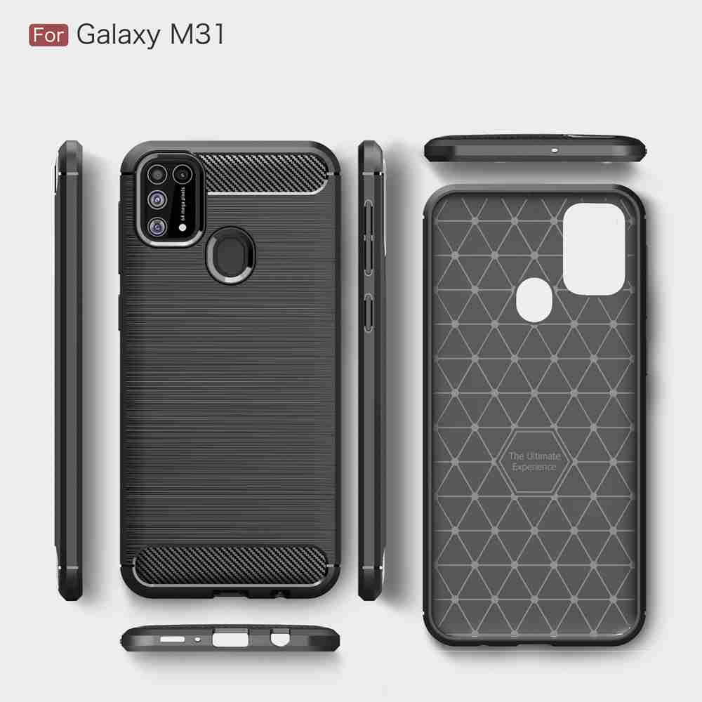 Brushed Carbon Fiber Phone Case for Samsung Galaxy M31- Valentine Red