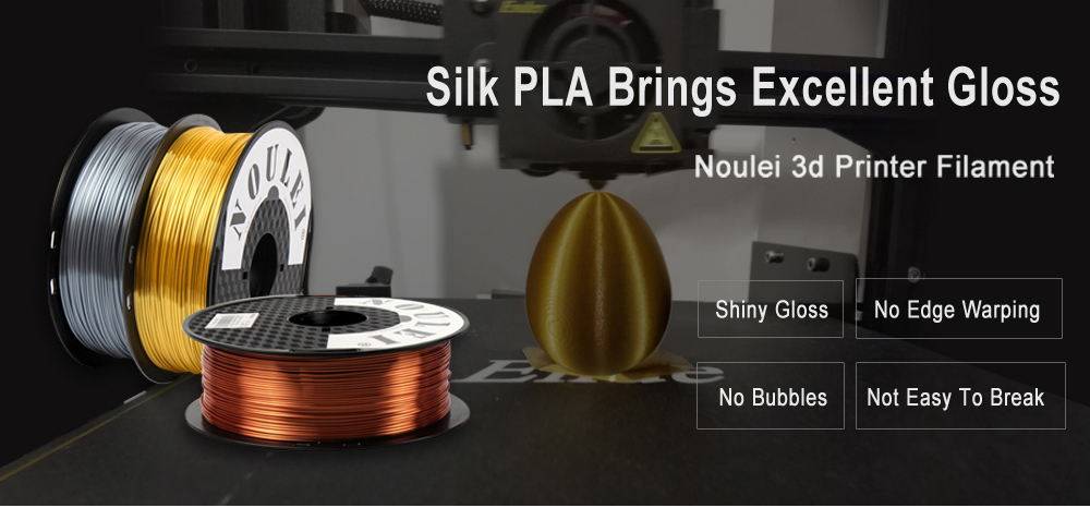 Noulei 3D Printing Filament Silk PLA 1.75mm Spool Shiny for All FDM Printer - Clover Green