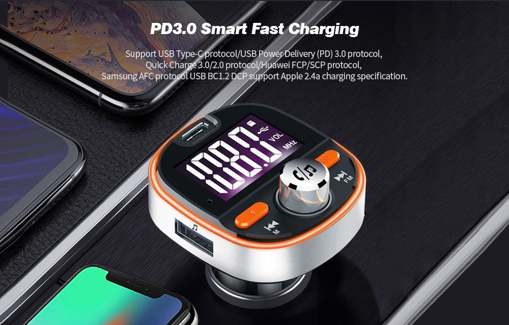 BC53 Large Screen Car FM Transmitter Car Bluetooth MP3 Player PD3.0 Fast Charge- Black