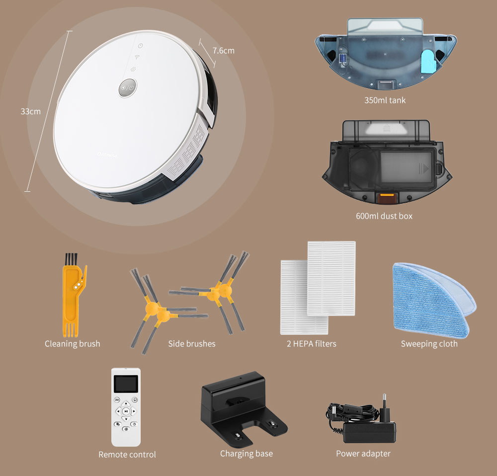 Alfawise V8S PRO E30B Robotic Vacuum Cleaner with APP CE Safety- White Standard