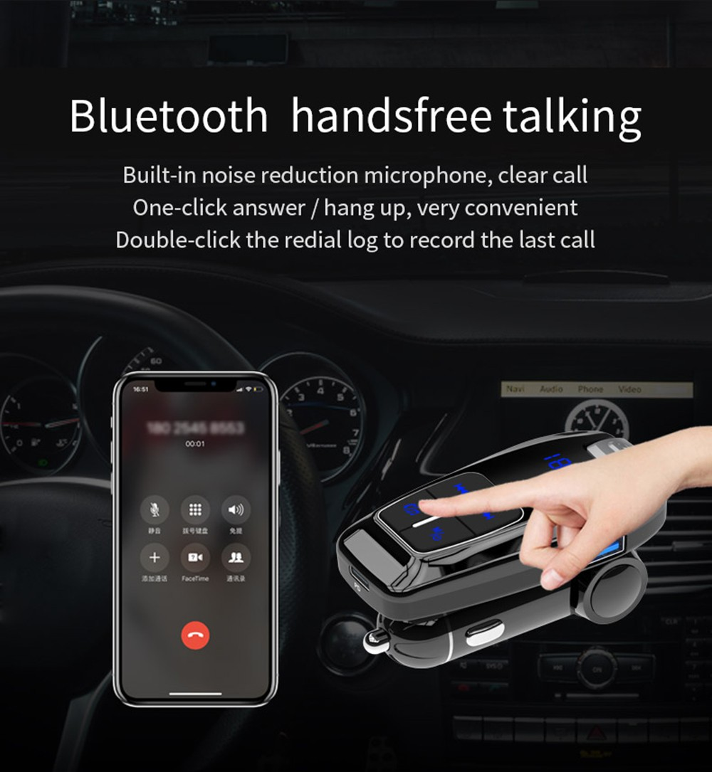 BC59 PD 3.0 Car Charger FM Transmitter Car Bluetooth Music Player Support Siri Goggle Voice Assistant- Black