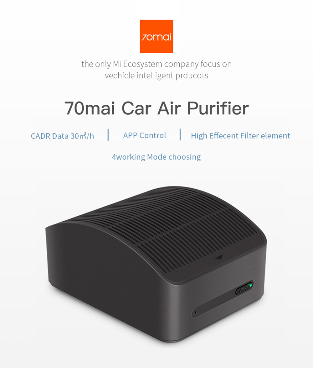 70mai Midrive AC01 Car Air Purifier Mini Humidifier Aroma Essential Oil Diffuser (Xiaomi Ecosystem Product)- Black