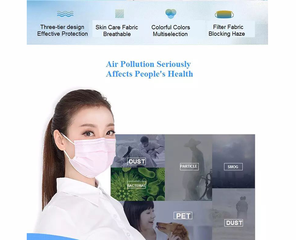 Disposable Isolation Face Mask Activated Carbon Anti-Dust Bacteria Proof Surgical Masks 50pcs- Deep Sky Blue
