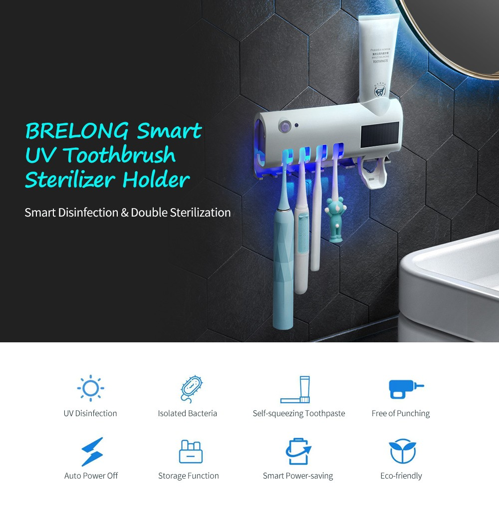BRELONG Smart UV Toothbrush Sterilizer Holder- White