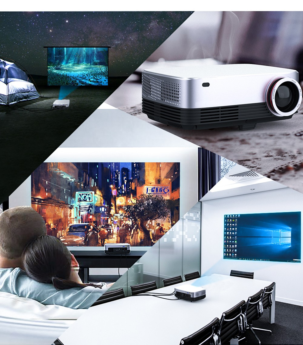 Bilikay SV-428 PRO Native 1080P LED Projector 6000 Lux Full HD Home Theater Movie Projector- Silver