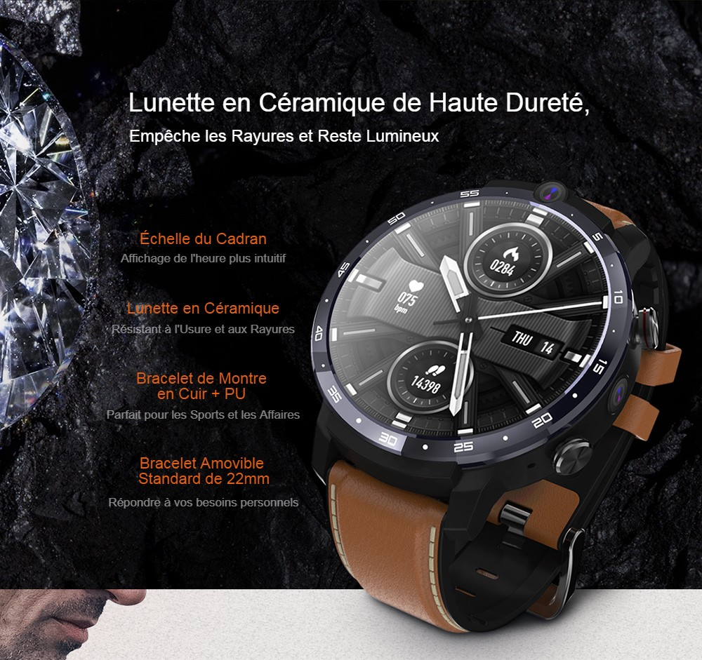 OUKITEL Z32 World's First Smart Watch With Portable Wireless Charger Face ID Dual Cameras 4G Smartwatch 1800mAh Battery 1.6 Inch IPS Screen Android 3GB RAM 32GB ROM Healthcare Sports Smart Watch For Men - Brown