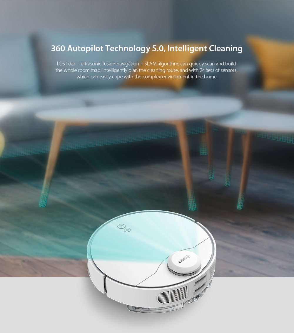 360 S6 Pro Laser Navigation Wet and Dry Robot Vacuum Cleaner RF Omnidirectional + APP Dual Remote Control 5200mAh Battery 2200Pa Suction Power - Milk White