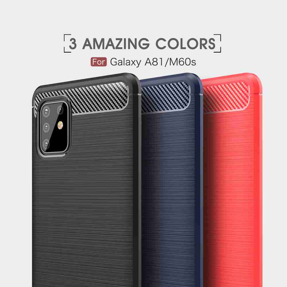 Solid Color Brushed Carbon Fiber Phone Case for Samsung Galaxy A81 / M60S- Black