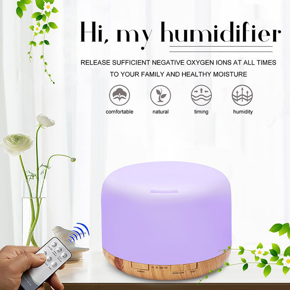 Remote Aroma Diffuser 500ML Essential Oil Diffuser Aromatherapy Air Humidifier- Tan AU Plug