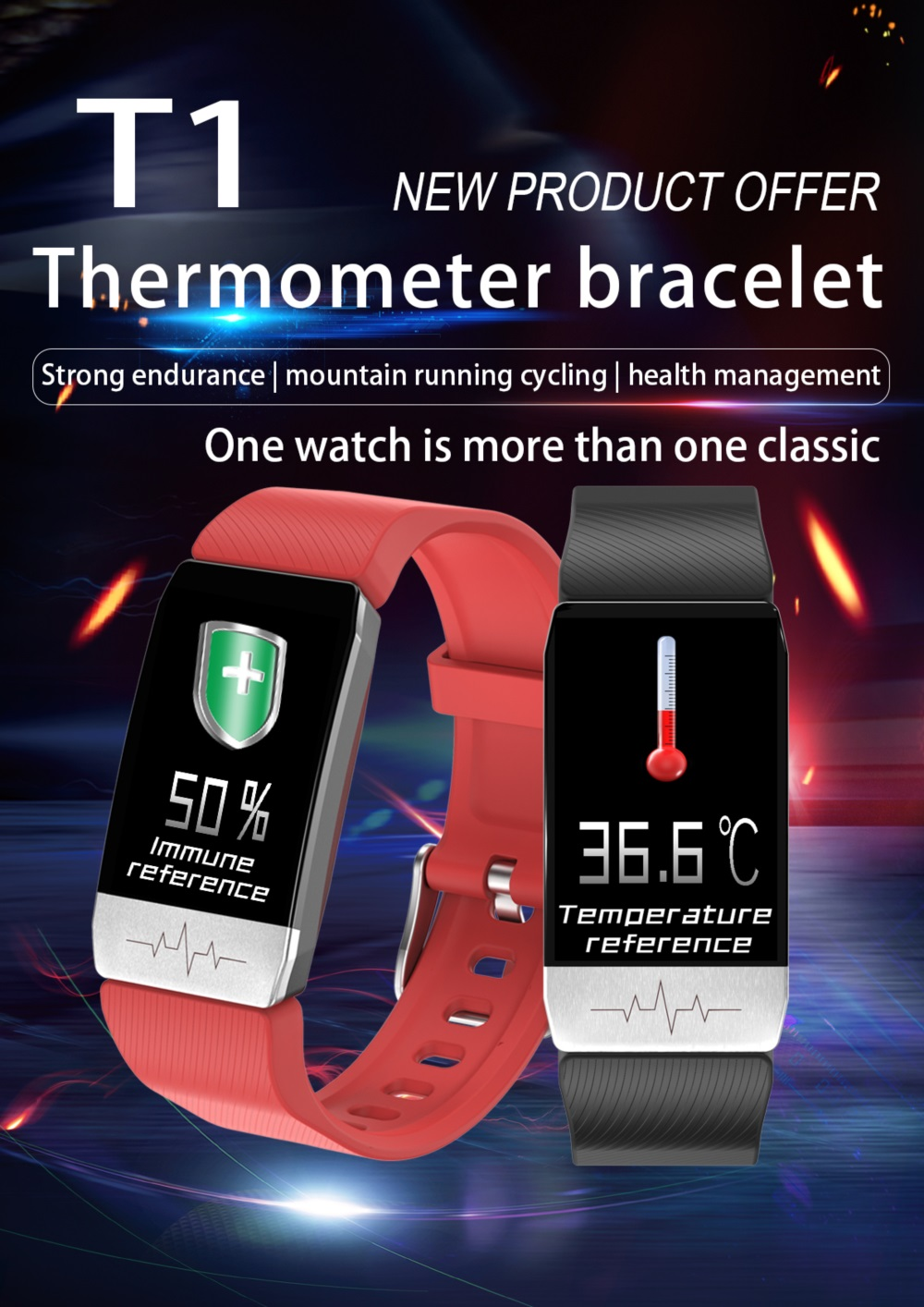 T1 Body Temperature Measure Smart Wristband Immunity ECG Monitor Smartwatch with IP67 Waterproof Heart Rate Monitoring- Blue